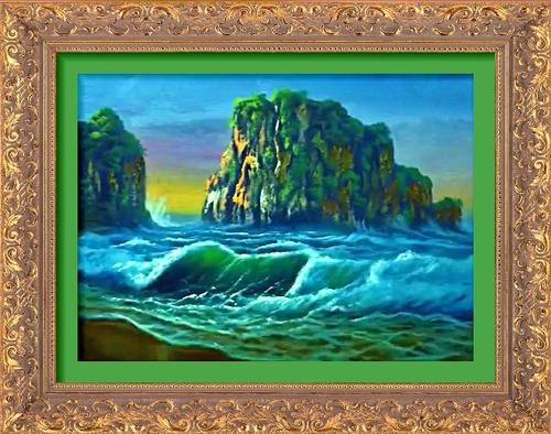 promontoirs rocheux au milieu des vagues déferlantes