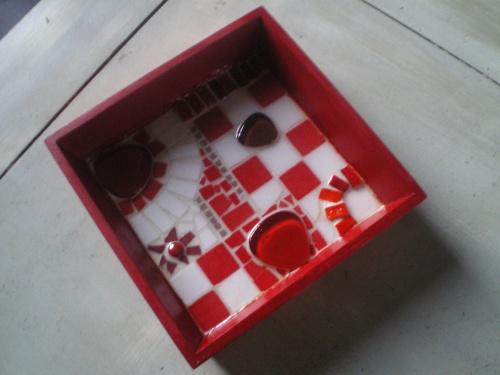 Vide - poche patchwork rouge