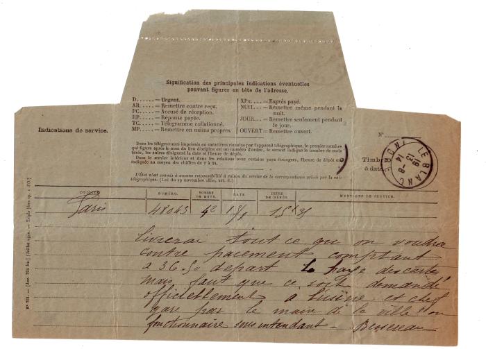 Télégramme du minotier réclament une demande officielle pour la livraison de farine
