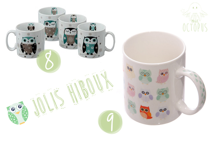 Mugs mignons cute chouette hiboux Truffaut et EzyBoutique Magic Octopus BLOG