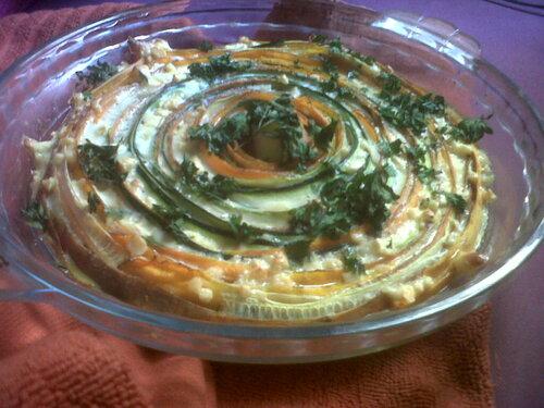 Tarte estivale aux spirales de légumes