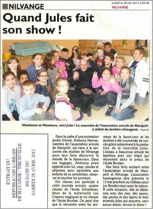 VISITE AUX ECOLES DE NILVANGE - JARDIN D'ECOLE