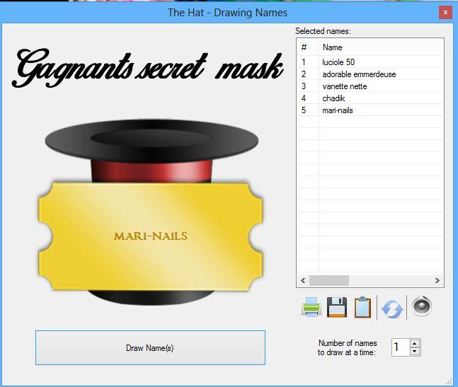 Résultats concours secret mask