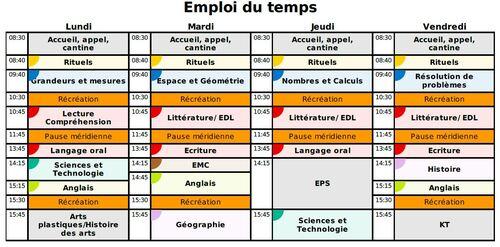 Emploi du temps 2016/2017