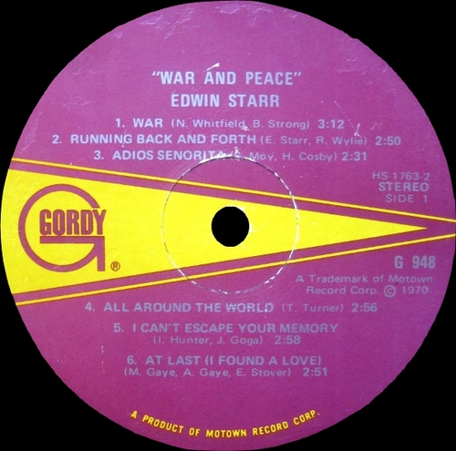 "Edwin Starr : Album "" War & Peace "" Gordy Records GS 948 [ US ]"