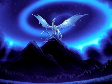 Blue dragon world - wings, amazing, beautiful, demon, blue, majestic, animal, dark, round, mountains, fantasy, zoo, colorful, creature, lovely, dragon, park