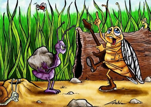 l illustration de la cigale et la fourmi