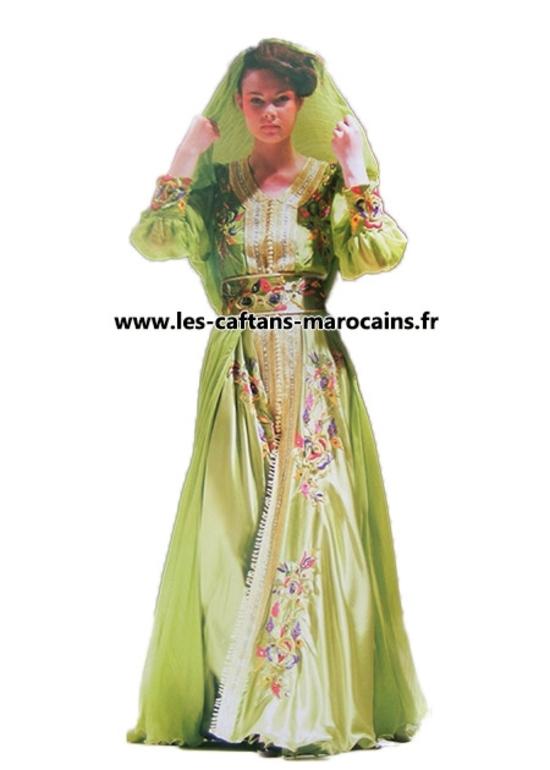 Caftan-marocain-2015-vert vendu en ligne pour mariage marocain avec kaftan brodé -KAF-S920