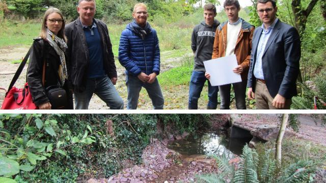 La réception des  travaux, sur le ruisseau du Clos, s'est faite en présence d'Arnaud Lécuyer (à droite) et de Jean-Louis Noges (2e à droite) avec l'équipe de techniciens des milieux aquatiques.