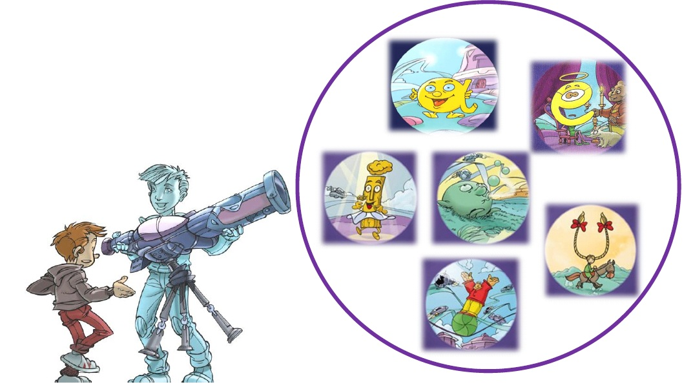 Cosmopollux montre les voyelles à Olobrius avec son visoparloscope.