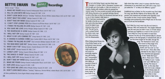 "Bettye Swann : CD "" The Money Recordings "" Kent Soul Records CDKEND 197 [ UK ]"