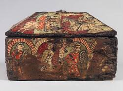 Réalisation d'un coffret, d'après un coffret en bois peint, XIIIe siècle.