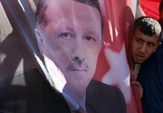 Lors d'une manifestation de soutien au président turc Recep Tayyip Erdogan, samedi, à Ankara.