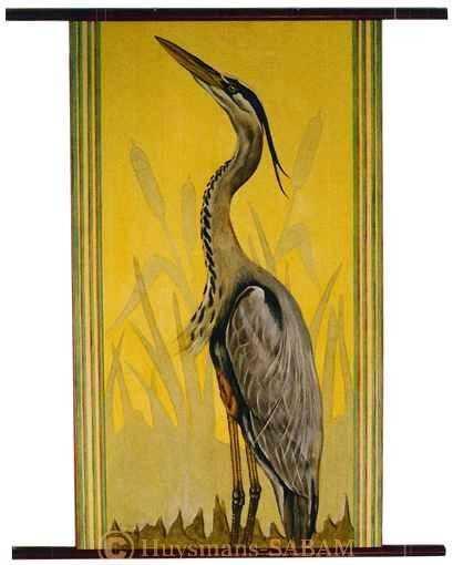Peinture animalière: héron peint à la gouache - Arts et sculpture: artiste peintre, sculpteur animalier