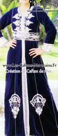 Caftan-marocaine bleu sur mesure pour mariage marocain-kaf-S947