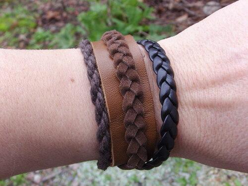 Bracelet en cuir aux couleurs de la nature...