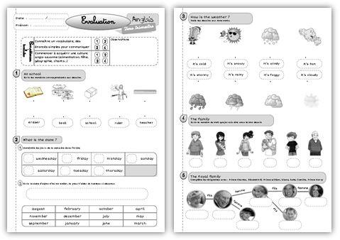 Evaluation d'anglais CE1