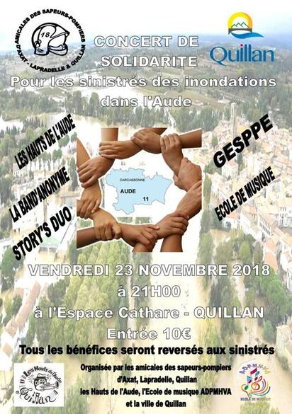 Concert de solidarité à Quillan le 23/11/2018 21h Espace Cathare