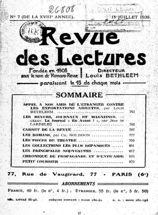 REVUE LECTURE 1930 PAGE 1
