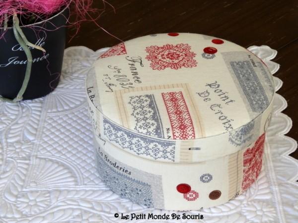 boite ronde cartonnage tissu yuwa