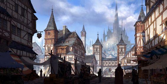 Medieval city, Jung yeoll Kim on ArtStation at https://www.artstation.com/artwork/D2B20