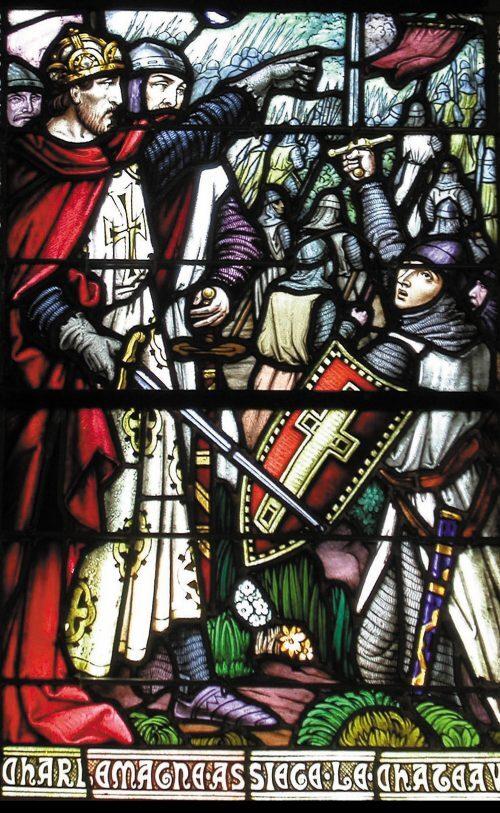 Charlemagne assiégeant le château de Lourdes. Vitrail de la chapelle du château