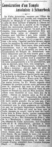 Consécration d'un Temple Antoiniste à Schaerbeek (Journal de Bruxelles & Le Vingtième Siècle, 3 août 1925)(Belgicapress)