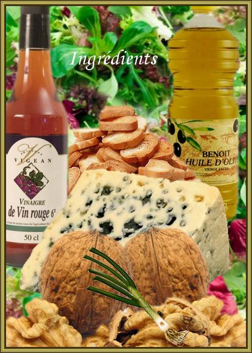 Recette de Cuisine : Salade aux noix et au Roquefort