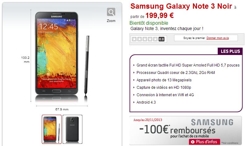 Galaxy Note 3 à prix explosé chez Virgin. Oui mais...