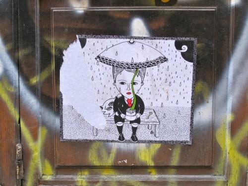 Le Chevalier street-art pluie