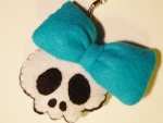 ♥ porte-clef blue pin-up skull ♥