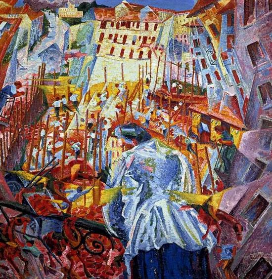 Gino Severini, La rue entre la maison, 1911