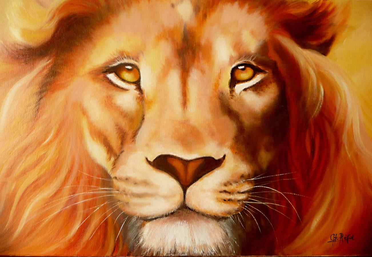 tableau lion de face