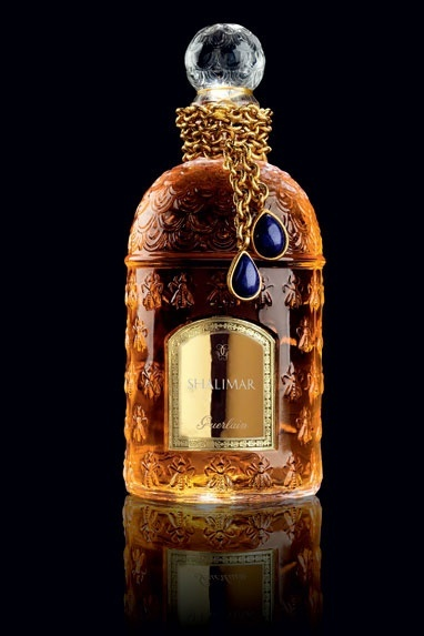 Guerlain has given its classic scent Shalimar a Flacon Imperial Bijoux bottle featuring a gorgeous lapis lazuli necklace (only 20 copies produced, €450 each )