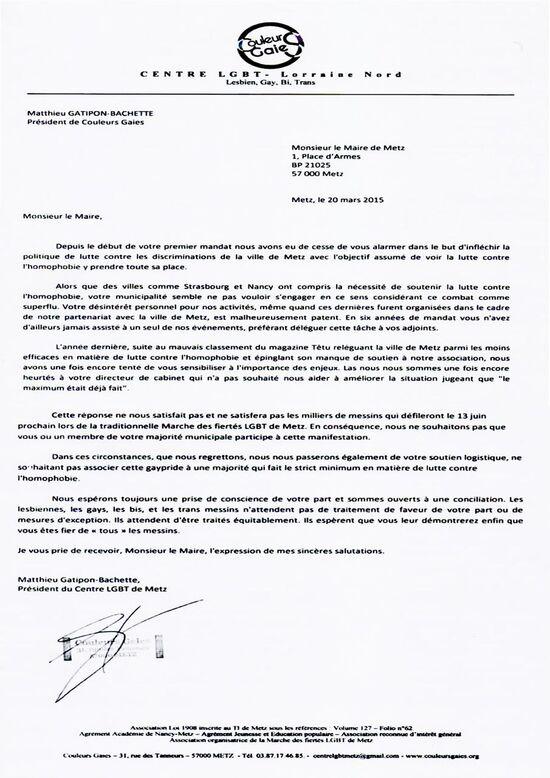 Intimidation du communautarisme politico-sexuel de Metz