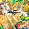 Konachan.com - 82383 2girls blonde_hair blue_eyes brown_hair dress flowers fruit green_eyes original