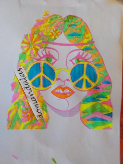 DOMANDALAS  coloriage visage femme hippie