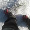 Crampons utiles pour terminer l'ascension de La Rhune sur la neige glacée