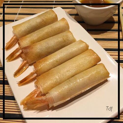 Croustillants de gambas gingembre/citron confit, sauce à la mangue