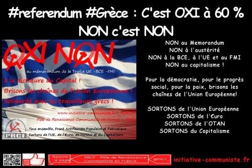 Grèce : victoire du NON ! C'est NON à l'UE ! 61 % de OXI