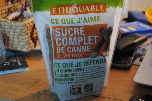 Sucre de Canne issue du commerce équitable.