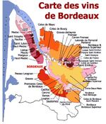 Red wine's card of Bordeaux