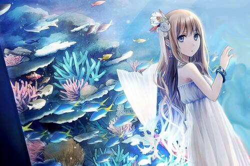 fille blonde aquarium