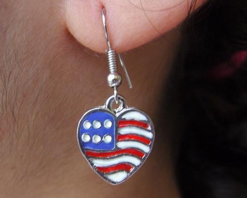 Boucles d'oreille country coeur U.S.A