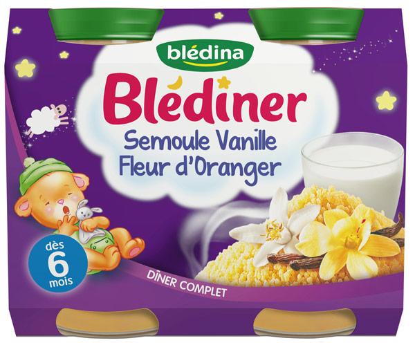petits pots Semoule Vanille Fleur d'oranger de Blédina