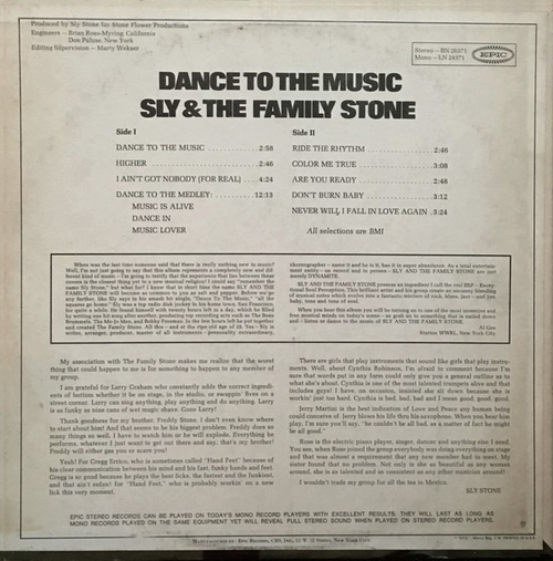"Sly & The Family Stone : Album "" Dance To The Music "" Epic Records BN 26371 [ US ]"