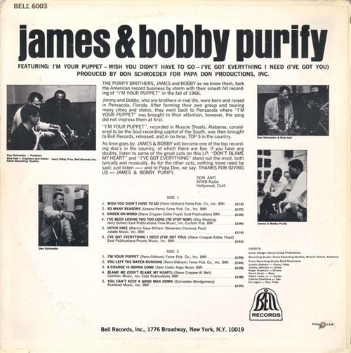 "James & Bobby Purify : Album ""James & Bobby Purify "" Bell Records BELL 6003 [ US ]"