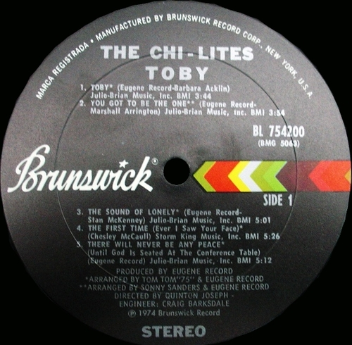 "The Chi-Lites : Album "" Toby "" Brunswick Records BL 754200 [ US ]"