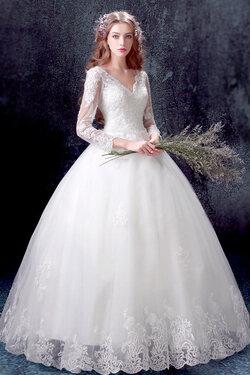 Robe de mariée classique  avec manches longues en dentelle