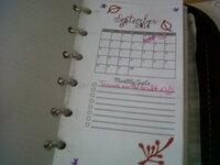 en h. à G: Menus de la semaine; ma routine ménage; nouvelles pages de calendriers (sept-déc.); ma semaine (1 carré par jours+ 1 page to-do et menu)